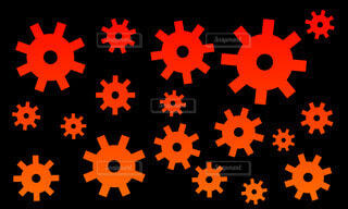 赤い歯車パターンの写真・画像素材[4583919]
