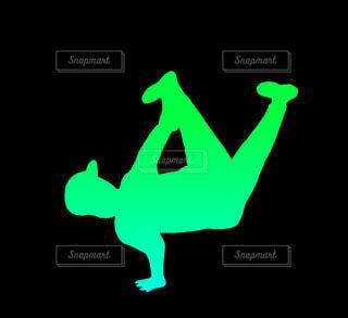 エアチェアーブレイクダンスシルエット(緑)の写真・画像素材[4679082]