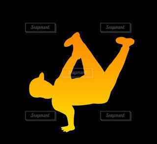 エアチェアーブレイクダンスシルエット(オレンジ)の写真・画像素材[4679084]