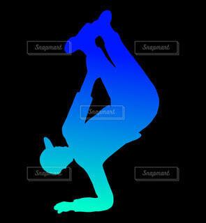 肘倒立ブレイクダンスシルエット(青)の写真・画像素材[4679770]