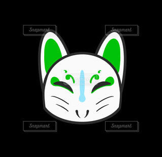 きつねの仮面(緑)の写真・画像素材[4754175]