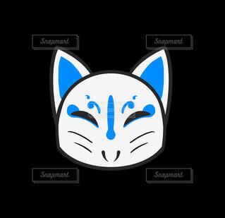 白猫の仮面(青)の写真・画像素材[4772915]