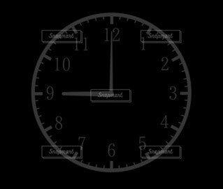 9時(21時)の時計シルエットの写真・画像素材[4805510]