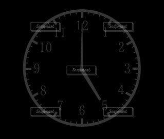 5時(17時)の時計シルエットの写真・画像素材[4805515]