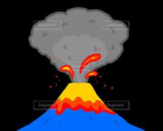 富士山の噴火イラストの写真・画像素材[4809088]