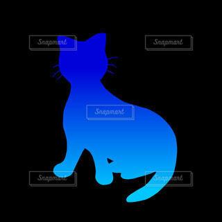 猫のシルエット(青)の写真・画像素材[4810871]