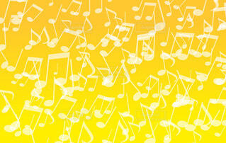 音符パターン(黄色背景)の写真・画像素材[4833393]