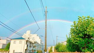 大きな虹 晴天 雨上がりの写真・画像素材[4210078]