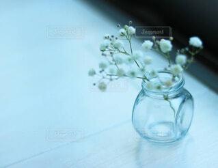 透明なガラス瓶とかすみ草の写真・画像素材[4213536]