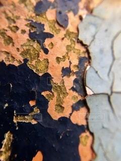 劣化した鉄パイプの塗装のクローズアップの写真・画像素材[4771813]