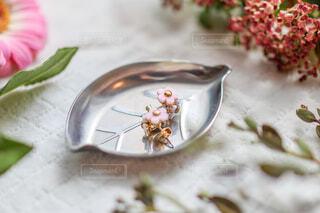 花に囲まれたお花のかたちをしたピアスのアクセサリーの写真・画像素材[4237812]