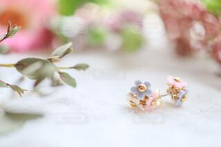 花に囲まれたお花のかたちをしたピアスのアクセサリーの写真・画像素材[4237809]
