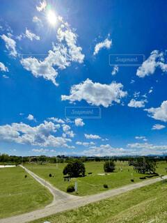 初夏の青空と緑の芝生の写真・画像素材[4378693]