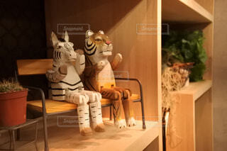シマウマとトラの置物の写真・画像素材[4268606]