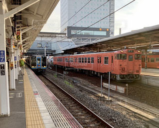 夕暮れの岡山駅の写真・画像素材[4569954]