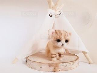 羊毛フェルトで作ったスナネコの赤ちゃんの写真・画像素材[4552932]