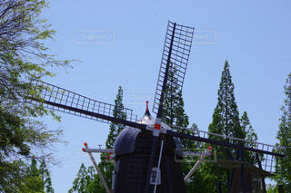 青空と風車の写真・画像素材[4433990]