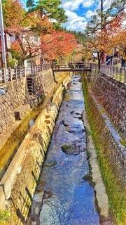 秋深まる飛騨高山の江名子川の写真・画像素材[4370804]