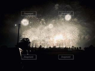 暗闇の中で爆発する花火の写真・画像素材[4320041]