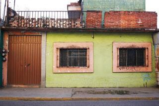 緑の壁と2つの窓の写真・画像素材[4362381]