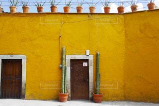 黄色い壁とドアの写真・画像素材[4362382]