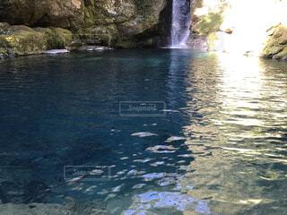 透き通る水、滝を背景にの写真・画像素材[4359624]