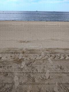 砂浜の足跡の写真・画像素材[4529731]
