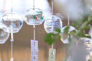 一列に並んで吊るされた透明なガラスの風鈴の写真・画像素材[4716213]