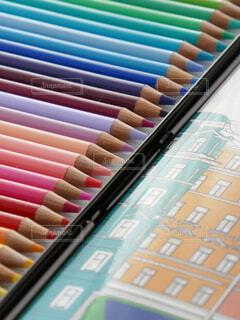 色鉛筆のアップの写真・画像素材[4632663]