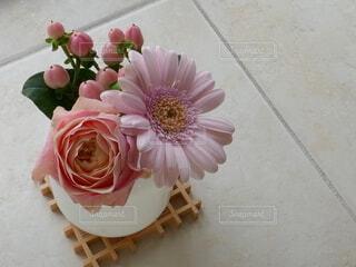 小さな白い花瓶にピンクの花の写真・画像素材[4721365]