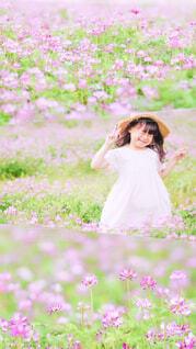 蓮華畑と少女の写真・画像素材[4416471]