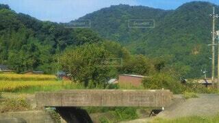 コンクリートの橋がある田舎の風景の写真・画像素材[4528786]