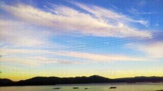 青と黄色のグラデーションの夕空の写真・画像素材[4560350]