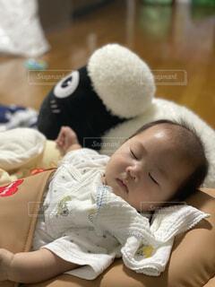 睡眠中の赤ちゃんとぬいぐるみの写真・画像素材[4470601]