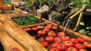 冷たい水に冷やされた野菜の写真・画像素材[4704061]