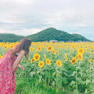 緑の野原の前に立っている女性の写真・画像素材[2208397]