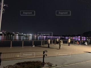 湖を反射する桜のライトアップの写真・画像素材[4471993]