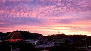 音戸大橋と夕日の写真・画像素材[4516969]