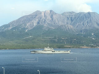 山と海と船の写真・画像素材[4525936]
