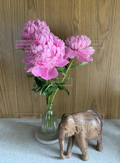 木製のテーブルの上に座っている花瓶の写真・画像素材[4561976]