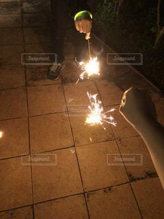 今年初花火の写真・画像素材[4527322]