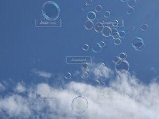 空とシャボン玉の写真・画像素材[4513179]