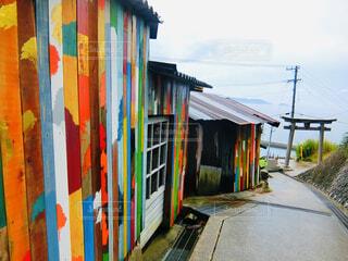 男木島のアートな小道より海を眺めての写真・画像素材[4538367]