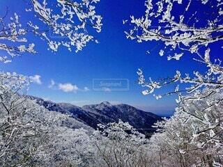 青空と雪山のコントラストの写真・画像素材[4551079]