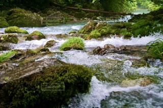 水の体を越えて行く滝の写真・画像素材[4571125]