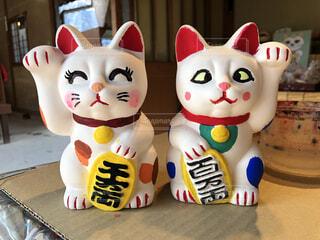 招き猫の色付けの写真・画像素材[4617726]