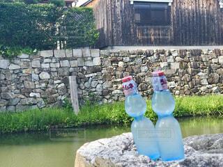 川で冷やしたラムネの写真・画像素材[4614550]