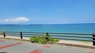 海を見下ろすベンチに座っている人の写真・画像素材[4687974]