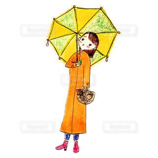 傘をさして憂うつな表情の女性イラストの写真・画像素材[4662376]