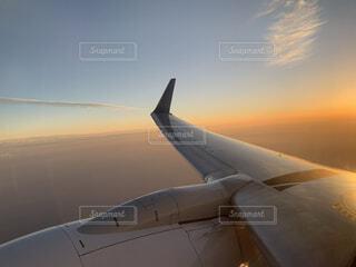 空を飛ぶ大きな翼の写真・画像素材[4858455]